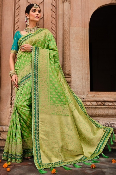 Green Silk Saree with Embroidered Border