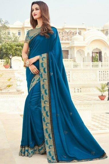 Blue Art Silk Saree with Embroidery