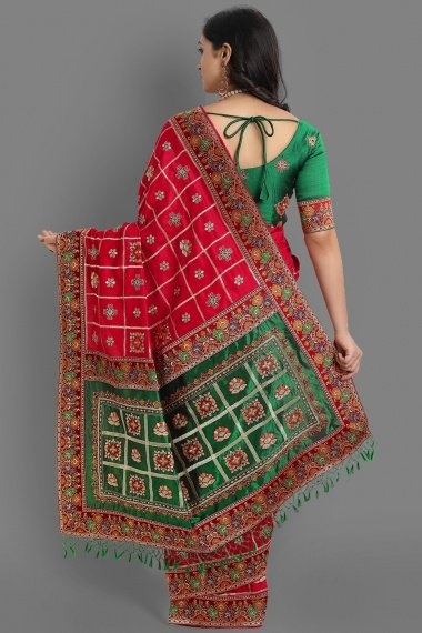 Red Art Silk Embroidered Gharchola Saree