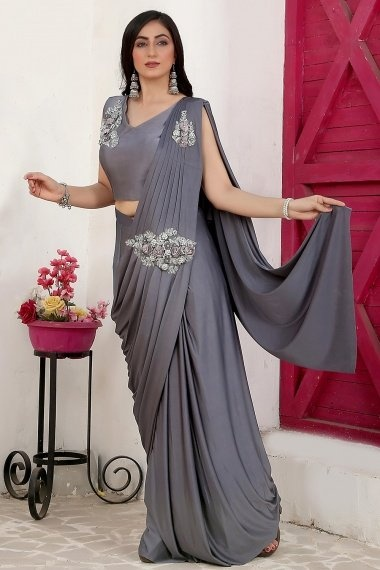 Grey Lycra Pre Stitched Saree with Patch