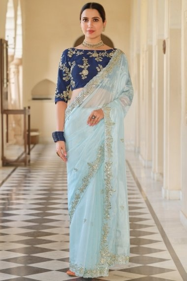 Light Blue Organza Saree with Sequinned Border
