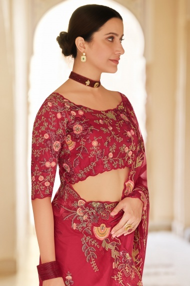 Red Organza Floral Embroidered Saree