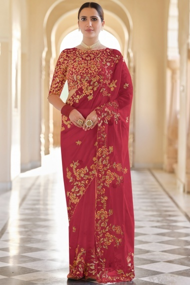 Red Organza Saree with Floral Embroidery