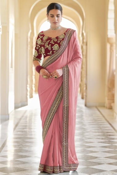 Dusty Pink Organza Plain Saree with Lace