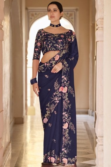 Navy Blue Organza Floral Embroidered Saree