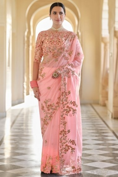 Light Pink Organza Floral Embroidered Saree