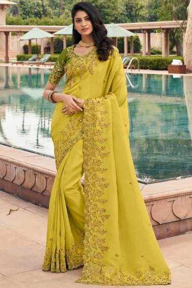 Greenish Yellow Georgette Saree with Sequins