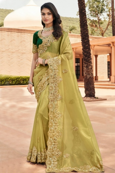 Olive Green Georgette Embroidered Saree