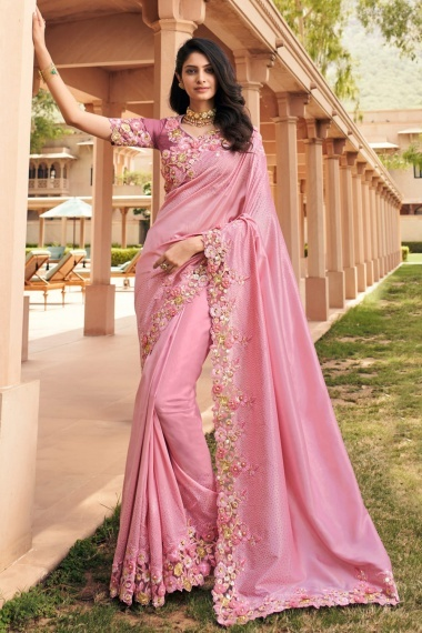 Pink Georgette Saree with 3D Flowers
