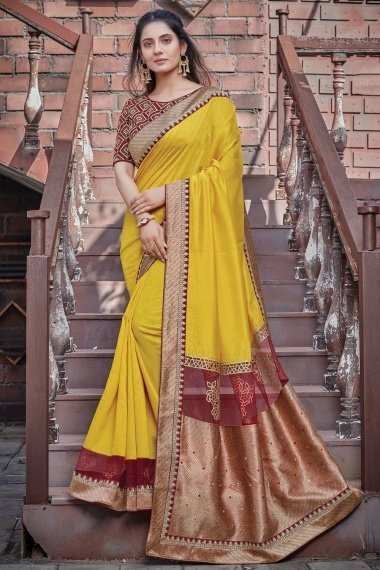 Yellow Georgette Silk Saree with Weaving