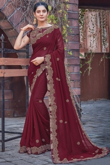 Maroon Georgette Silk Saree with Embroidery