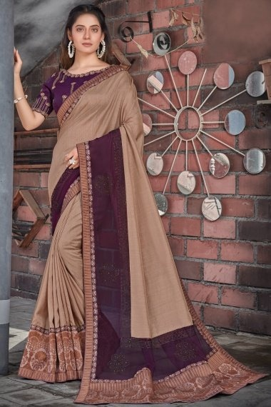 Beige and Purple Tussar Silk Saree with Lace