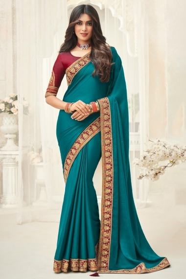 Turquoise Blue Silk Saree with Lace