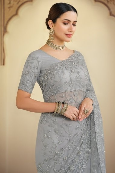 Grey Net Embroidered Saree with Stone