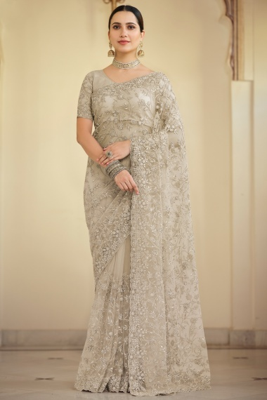 Taupe Net Embroidered Saree