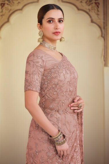 Peach Net Saree with Embroidery