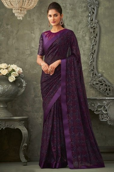 Purple Georgette All Over Sequins Worked Saree