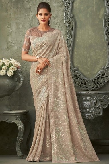 Taupe Georgette Sequins Worked Saree