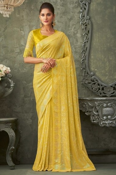 Yellow Georgette All Over Sequins Worked Saree