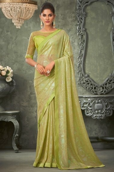 Light Green Georgette Saree with Sequins Work