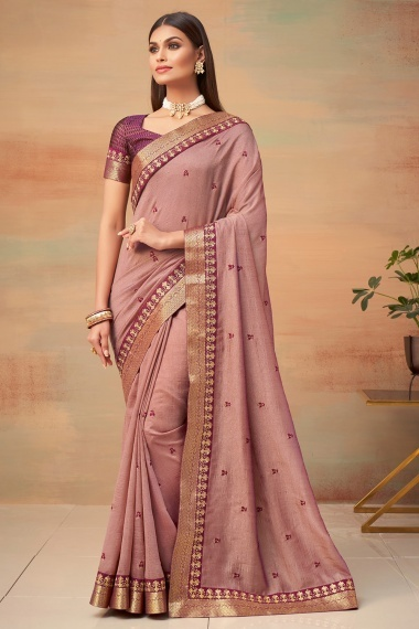 Dusty Pink Art Silk Saree with Embroidery