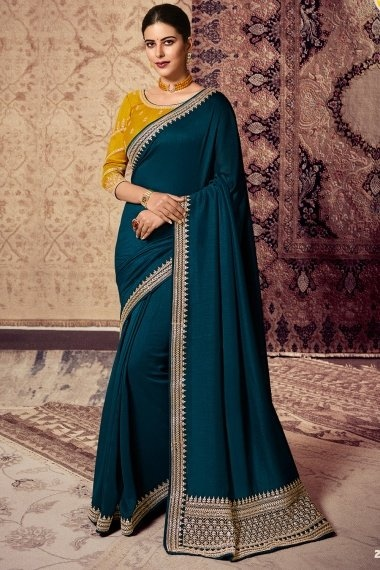 Teal Blue Art Silk Saree with Embroidery