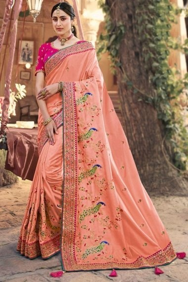 Peach Silk Saree with Embroidered Peacock Motifs