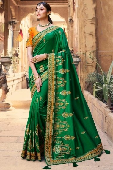 Green Silk Saree with Embroidery