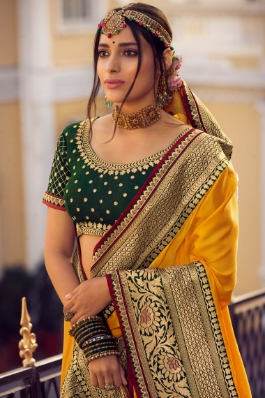 Yellow Shimmer Embroidered Border Saree