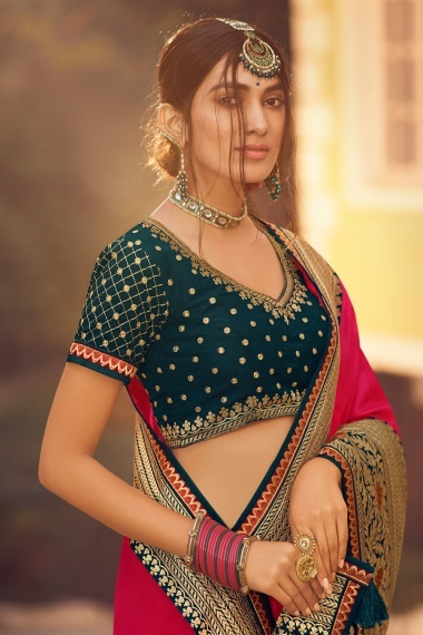 Red Shimmer Embroidered Saree