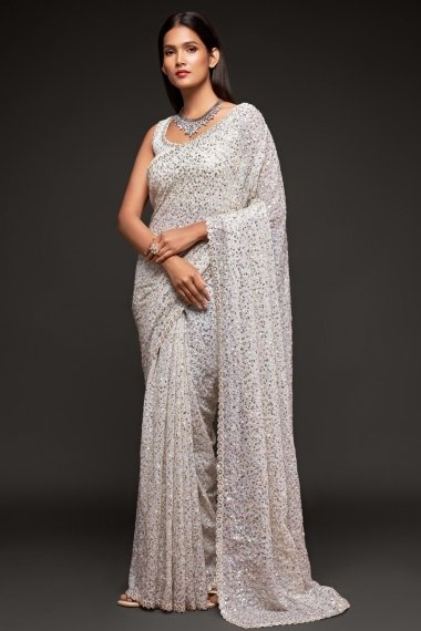 Off White Georgette Sequinned Saree