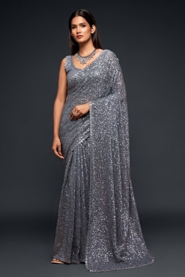 Grey Georgette All Over Sequinned Saree