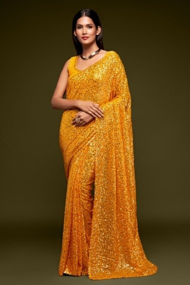 Yellow Georgette Sequinned Saree