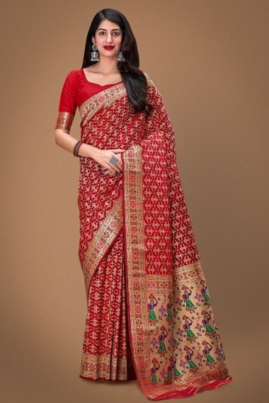 Red Art Silk Saree with Weaving