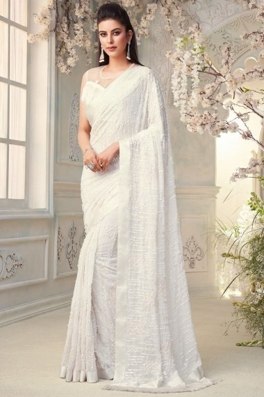 Pearl White Georgette Sequinned Saree