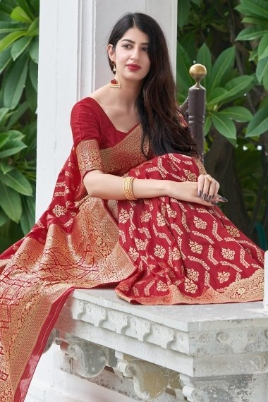 Red Silk Traditional Woven Saree