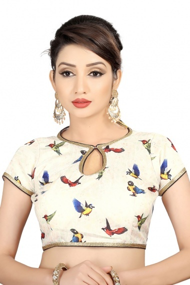 Off White Brocade Printed Blouse with Bird Motifs