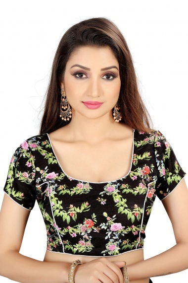 Black Brocade Blouse with Floral Print