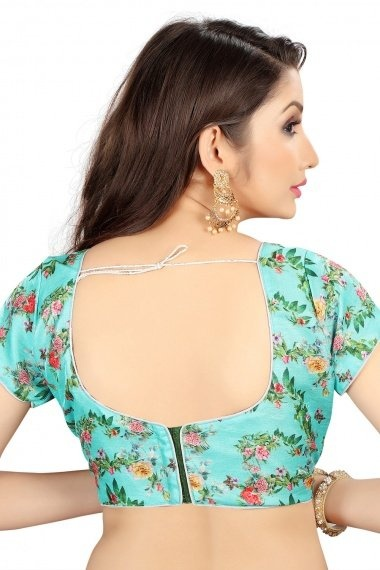 Sky Blue Brocade Blouse with Floral Print