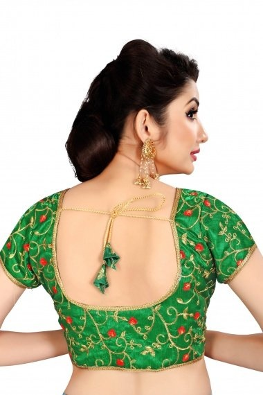 Green Brocade Embroidered Blouse with Lace