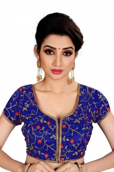 Blue Brocade Embroidered Blouse with Lace