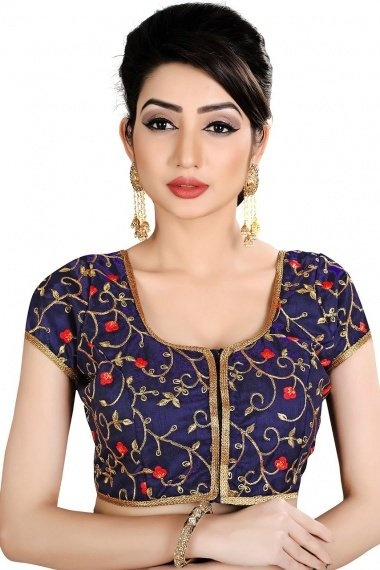 Navy Blue Brocade Embroidered Blouse with Lace