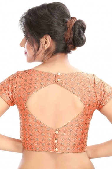 Peach Art Silk Embroidered Blouse with Sequins Work