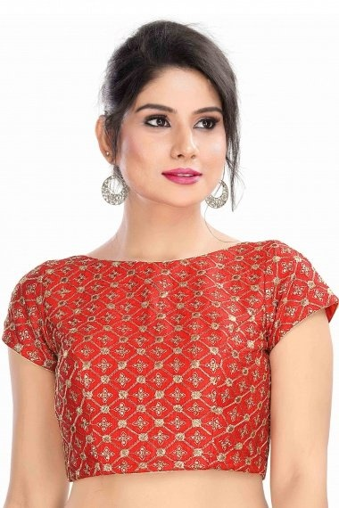 Red Art Silk Embroidered Blouse with Sequins Work