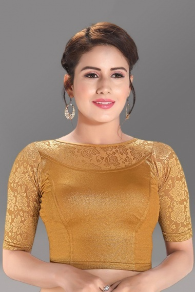 Golden Shimmer Stretchable Readymade Blouse