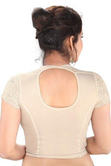 Off White Shimmer Stretchable Readymade Blouse