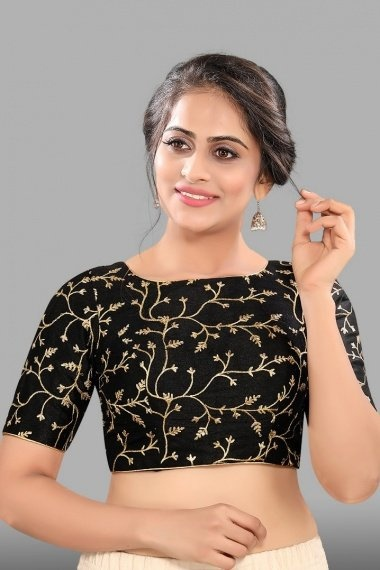 Black Mulberry Silk Embroidered Blouse