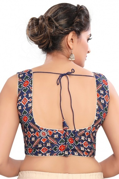 Navy Blue Cotton Blouse with Patola Print