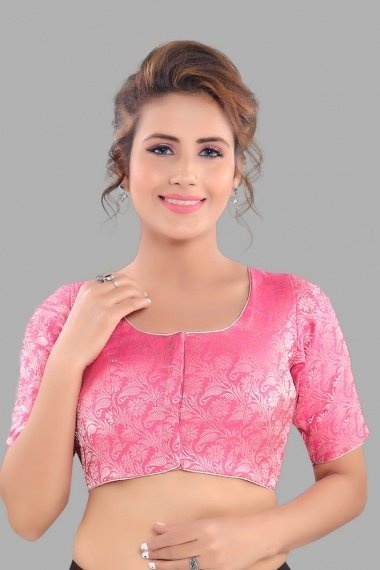 Pink Brocade Woven Blouse with Paisley and Floral Motifs