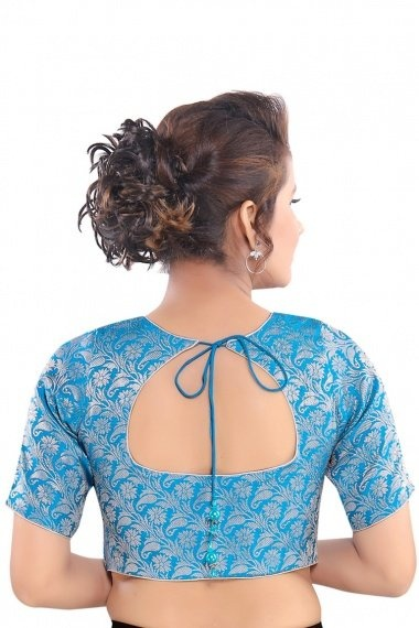 Sky Blue Brocade Woven Blouse with Paisley and Floral Motifs